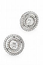 A pair of diamond set ear studs Diameter of cluster: 12mm, Estimated total diamond weight: 1.50cts