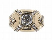A diamond set bombe ring Ring size: L, Principal diamond weight: 1.60cts