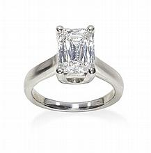 A platinum mounted prince cut diamond set single stone ring Ring size: F/G, Stated diamond weight 2.01cts
