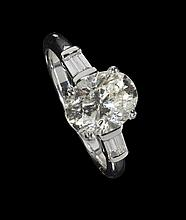 A single stone diamond ring Ring size: M/N, Estimated principal diamond weight: 2.20cts