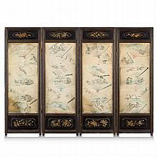 CHINESE BLACK LACQUER AND PAINTED SILK FOUR FOLD SCREEN QING DYNASTY each panel 192cm high, 66cm wide