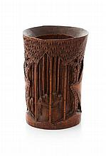 CARVED BAMBOO BRUSHPOT QING DYNASTY, 19TH CENTURY 19cm high