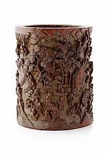 CARVED BAMBOO '100 BOYS' BRUSHPOT QING DYNASTY, 19TH CENTURY 20cm high