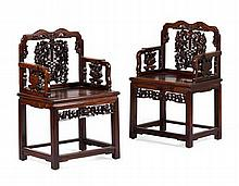 PAIR OF HUANGHUALI AND HONGMU CARVED ARMCHAIRS 19TH CENTURY 62cm wide, 98cm high, 47cm deep