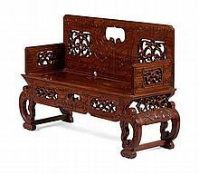 HUANGHUALI BENCH EARLY 20TH CENTURY 138cm wide, 92cm high, 49cm deep