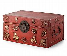 SMALL RED STAINED VELLUM CHEST QING DYNASTY 35cm wide, 18cm high, 21cm deep