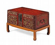 LARGE VELLUM TRUNK ON STAND QING DYNASTY 71cm wide, 44cm high, 46cm deep