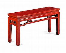 RED LACQUER LOW ALTAR TABLE QING DYNASTY 104cm wide, 51cm high, 29.5cm deep