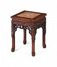 HONGMU AND MARBLE TOP STAND LATE QING DYNASTY 35cm wide, 46cm high, 35cm deep