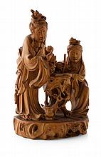 FINE CARVED BOXWOOD FIGURE GROUP OF TWO SCHOLARS QING DYNASTY, 19TH CENTURY 19cm high