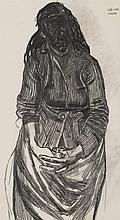 § JOHN BRATBY R.A. (BRITISH 1928-1992) JOB'S WIFE 60cm x 32cm (23.5in x 12.5in)