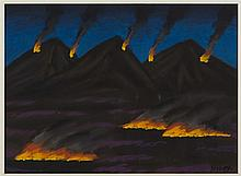 § JACK KNOX R.S.A., R.G.I. (SCOTTISH 1936-2015) BURNING THE HEATHER 28cm x 38in (11in x 14.75in)