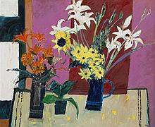 § DAVID MCLEOD MARTIN R.S.W., R.G.I. (SCOTTISH B.1922) STILL LIFE WITH BLUE JUG AND LILIES 74cm x 89cm (29.25in x 35in)