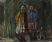 § ANGUS NEIL (SCOTTISH 1924-1992) CHILDREN AND DOG NO. 7 22cm x 27cm (8.75in x 10.5in)