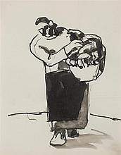 § JOSEF HERMAN O.B.E. (POLISH 1911-2000) FIGURE STUDY - FROM THE SCOTTISH FISHERFOLK SERIES 23cm x 18cm (9in x 7in)