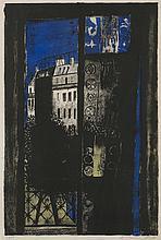 § ROBERT HENDERSON BLYTH R.S.A., R.S.W. (SCOTTISH 1919-1970) PARIS WINDOW - 1958 55cm x 37.5cm (21.5in x 14.75in)