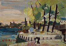 § JEAN ESTEVE-SILLY (FRENCH 1912-1978) SEINE LANDSCAPE 18cm x 26cm (7in x 10.25in)