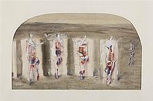 SERGEI ESSAIAN (RUSSIAN 1939-2007) FIGURES WITHIN DOORWAYS 27cm x 45cm (10.5in x 17.17in)