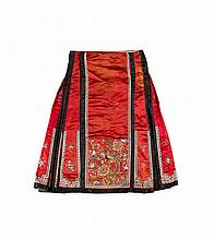 TWO SILK EMBROIDERED APRON SKIRTS QING DYNASTY largest 84.5cm high