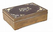 KOREAN BRONZE AND MIXED METAL BOX LATE 19TH CENTURY 23cm wide, 7.5cm high
