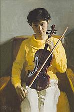 CHEN YANNING (B. 1945) YOUNG GIRL WITH VIOLIN 90cm high, 60cm wide (excluding frame)