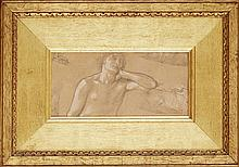 THOMAS MATTHEWS ROOKE (BRITISH 1842-1942) STUDY OF A MALE NUDE 13cm x 28cm (5in x 11in)