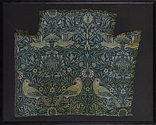 WILLIAM MORRIS (1834-1896) FOR MORRIS & CO. 'BIRD' PATTERN WOVEN WOOLLEN DOUBLE CLOTH PANEL, DESIGNED 1878 95 x 77cm (frame)