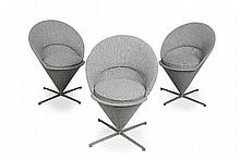 VERNER PANTON (1926-1998) FOR VITRA FOUR 'CONE' CHAIRS, DESIGNED 1958 each 59cm wide, 81cm high, 47cm deep