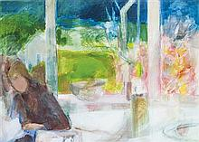 § MARDI BARRIE R.S.W. (SCOTTISH B.1931) WINDOW TO THE GARDEN 53cm x 73cm (21in x 28.75in)