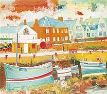 § JOHN BELLANY C.B.E., R.A., H.R.S.A. (SCOTTISH 1942-2013) PORT SETON 152cm x 172cm (59.75in x 67.25in)