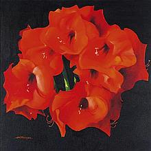 § ALASTAIR W. THOMSON (SCOTTISH CONTEMPORARY) RED FLOWERS ON A BLACK GROUND 53cm x 54cm (20.75in x 21.25in)