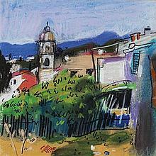§ ARCHIE FORREST (SCOTTISH B.1950) 'BEHIND THE VILLAGE' - SOUTHERN EUROPEAN TOWN 19.5cm x 19.5cm (7.75in x 7.75in)