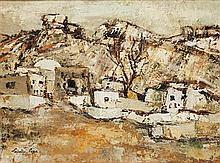 § PERPETUA POPE (SCOTTISH 1916-2013) PERSIAN VILLAGE, C.1963 50cm x 69cm (19.75in x 27in)