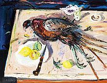 § DAVID MCCLURE R.S.A., R.S.W. (SCOTTISH 1926-1998) BON APPETIT MON BRAVE 70cm x 90cm (27.5in x 35.5in)