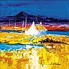 § JOHN LOWRIE MORRISON O.B.E. (SCOTTISH B.1948) AUTUMN ON BENBECULA 40cm x 40cm (15.75in x 15.75in)