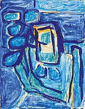 § MARGARET MELLIS (BRITISH 1914-2009) BLUE GIRL WITH FLOWERS 70cm x 91cm (27.5in x 36in)