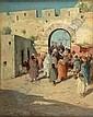 EDWARD AUBREY HUNT (1855-1922) GATE OF THE TOWN 44.5cm x 34.5cm (17.5in x 13.5in)