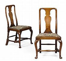 PAIR OF GEORGE II STYLE WALNUT SIDE CHAIRS 19TH CENTURY 53cm wide, 103cm high, 44cm deep