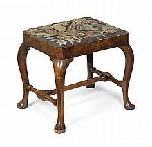 GEORGE II WALNUT UPHOLSTERED STOOL 18TH CENTURY 55cm wide, 45cm high, 41cm deep