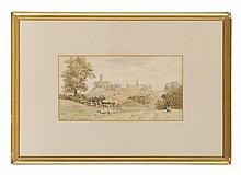 DAVID COX THE YOUNGER (BRITISH 1808-1885) BY WARKWORTH CASTLE 17.5cm x 33.5cm (7in x 13.25in)