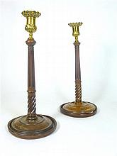 PAIR OF GEORGE III MAHOGANY CANDLESTICKS LATE 18TH CENTURY