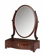 GEORGE III MAHOGANY AND INLAY DRESSING MIRROR 19TH CENTURY 58cm high, 42cm wide, 21cm deep