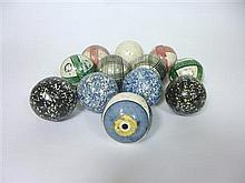 GROUP OF TWELVE SMALL VICTORIAN CARPET BOWLS 19TH CENTURY each approx. 6.5cm diameter