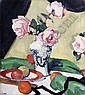 SOLD FOR £220,000 SAMUEL JOHN PEPLOE R.S.A. (1871-1935) A STILL LIFE OF PINK ROSES AND FRUIT 46cm x 41cm (18in x 16in), Samuel John Peploe, Click for value