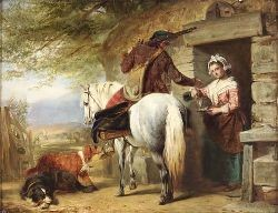 JOHN PHILLIP R.A., R.S.A. (1817-1867) A SCOTTISH ROADSIDE INN 36cm x 46cm (14in x 18in)
