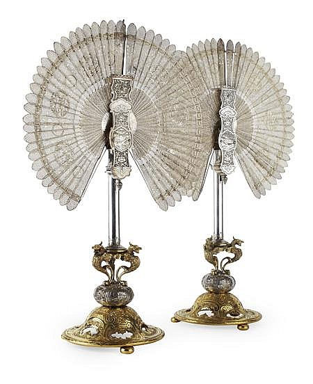 FINE PAIR OF CHINESE SILVER FILIGREE FANS, WITH EUROPEAN SILVERED AND GILT BRONZE STANDS Fans 35cm wide, stands (excluding fans) 48c...