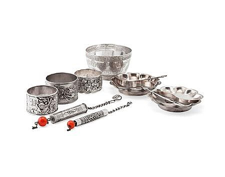 GROUP OF CHINESE EXPORT SILVER WARES 14.5oz