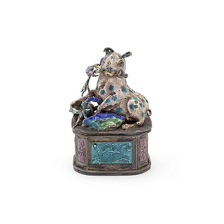 CHINESE SILVER AND ENAMEL SEAL QING DYNASTY, 19TH CENTURY 4cm high