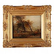 WILLIAM FREDERICK WITHERINGTON R.A. (BRITISH 1785-1865) AUTUMN LANDSCAPE 18.5cm x 24cm (7.5in x 9.5in)