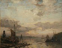JAMES CAMPBELL NOBLE R.S.A. (SCOTTISH 1846-1913) A BUSY DUTCH ESTUARY WITH BARGES 71cm x 91cm (28in x 36in)